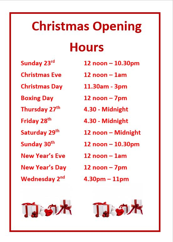 Christmas Hours.Christmas Opening Hours The Linford